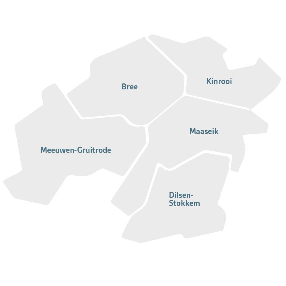 Kaart van de Deelgemeenten waar Ons Dak actief is