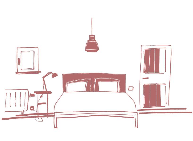Schets van een slaapkamer