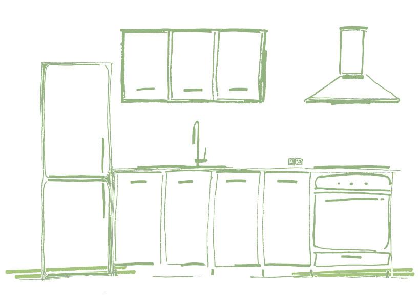 Schets van kast- en keukenmeubilair