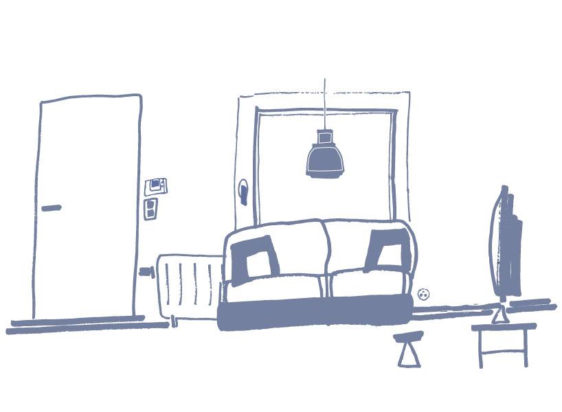 Schets van een woonkamer