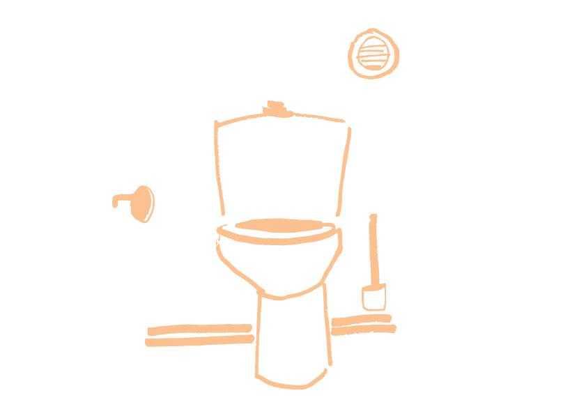Schets van een toilet